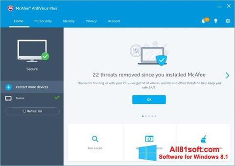 स्क्रीनशॉट McAfee AntiVirus Plus Windows 8.1