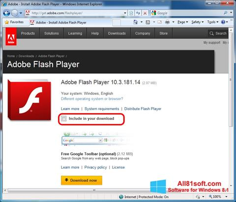 स्क्रीनशॉट Adobe Flash Player Windows 8.1