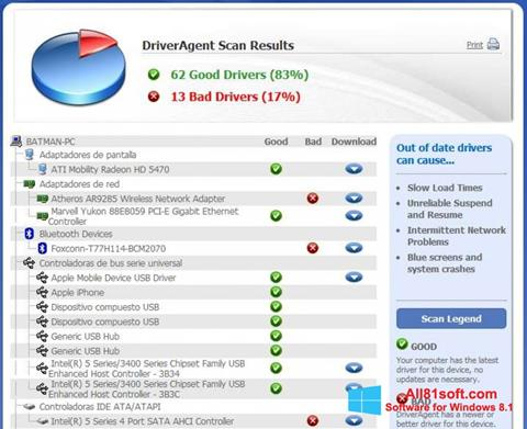स्क्रीनशॉट DriverAgent Windows 8.1