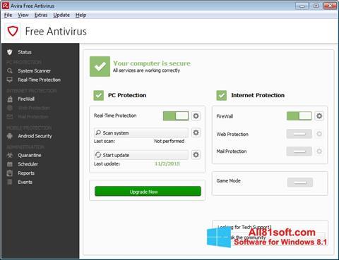 स्क्रीनशॉट Avira Free Antivirus Windows 8.1