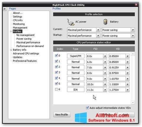 स्क्रीनशॉट RMClock Windows 8.1