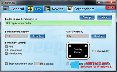 स्क्रीनशॉट Fraps Windows 8.1