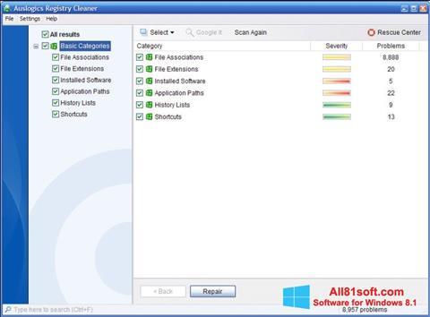 स्क्रीनशॉट Auslogics Registry Cleaner Windows 8.1