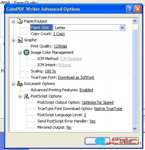 स्क्रीनशॉट CutePDF Writer Windows 8.1