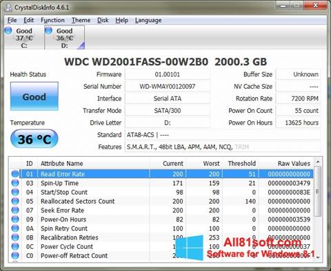 स्क्रीनशॉट CrystalDiskInfo Windows 8.1