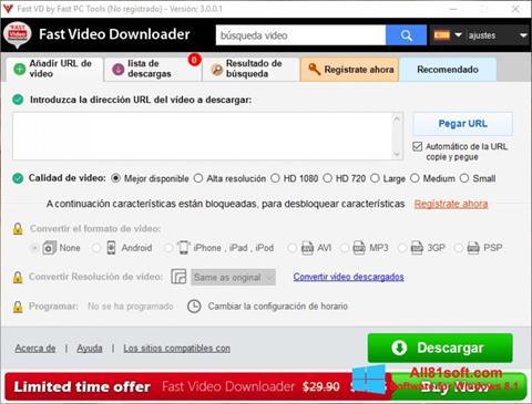 स्क्रीनशॉट Fast Video Downloader Windows 8.1