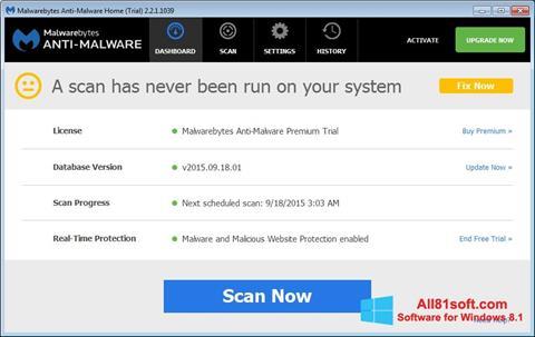 स्क्रीनशॉट Malwarebytes Anti-Malware Free Windows 8.1