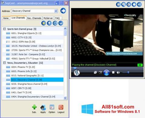 स्क्रीनशॉट SopCast Windows 8.1