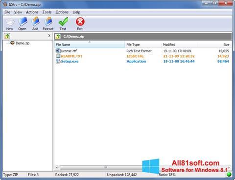स्क्रीनशॉट IZArc Windows 8.1