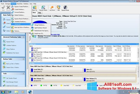 स्क्रीनशॉट Paragon Partition Manager Windows 8.1
