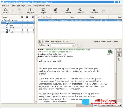 स्क्रीनशॉट Claws Mail Windows 8.1