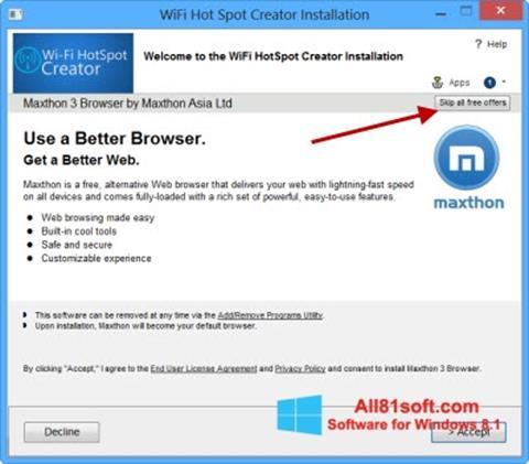 स्क्रीनशॉट Wi-Fi HotSpot Creator Windows 8.1