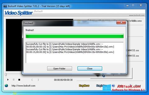 स्क्रीनशॉट Boilsoft Video Splitter Windows 8.1