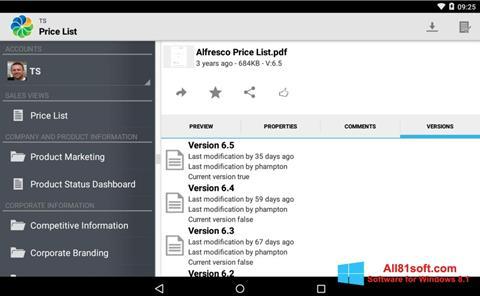 स्क्रीनशॉट Alfresco Windows 8.1
