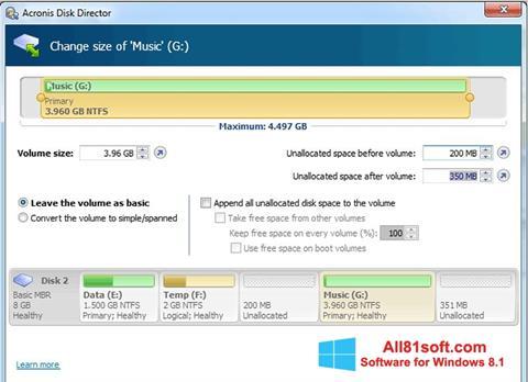स्क्रीनशॉट Acronis Disk Director Windows 8.1