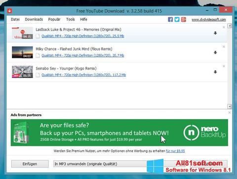 स्क्रीनशॉट Free YouTube Download Windows 8.1