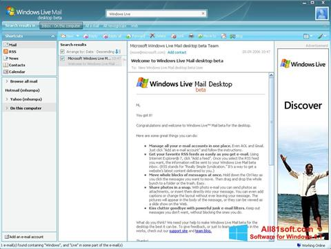 स्क्रीनशॉट Windows Live Mail Windows 8.1