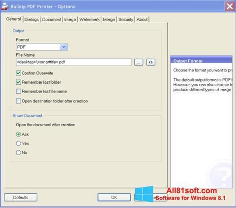 स्क्रीनशॉट BullZip PDF Printer Windows 8.1