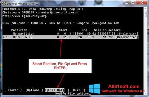 स्क्रीनशॉट PhotoRec Windows 8.1