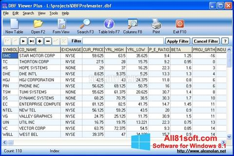 स्क्रीनशॉट DBF Viewer Windows 8.1