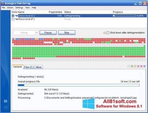 स्क्रीनशॉट Auslogics Disk Defrag Windows 8.1