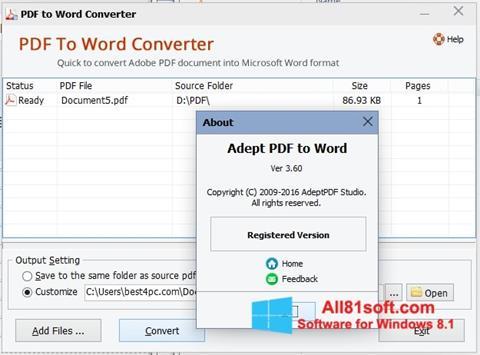 स्क्रीनशॉट PDF to Word Converter Windows 8.1