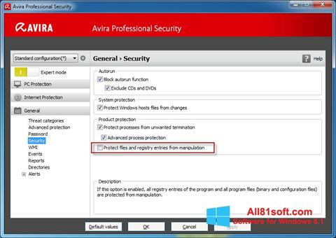 स्क्रीनशॉट Avira Professional Security Windows 8.1
