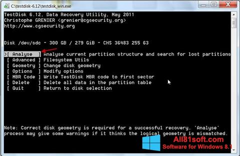 स्क्रीनशॉट TestDisk Windows 8.1