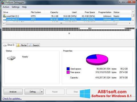स्क्रीनशॉट Defraggler Windows 8.1