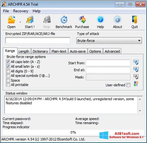 स्क्रीनशॉट Advanced Archive Password Recovery Windows 8.1