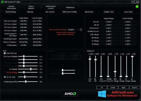 स्क्रीनशॉट AMD Overdrive Windows 8.1