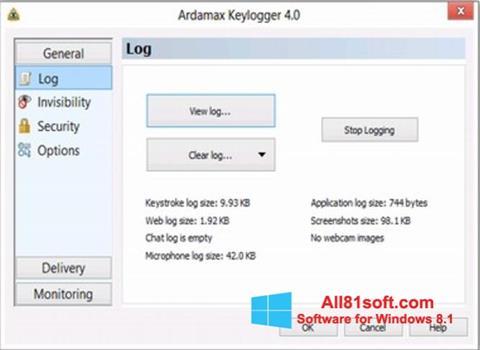 स्क्रीनशॉट Ardamax Keylogger Windows 8.1